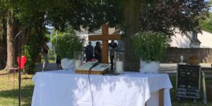 Gottesdienst zu Christi Himmelfahrt am 21.05.2020 an der Pauluskirche - Foto: Martina Schönhals